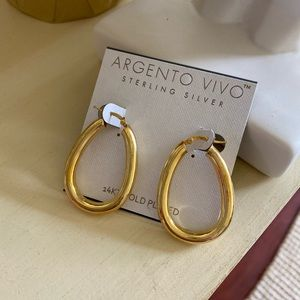 Argento Vivo 14k Gold plated silver earrings New
